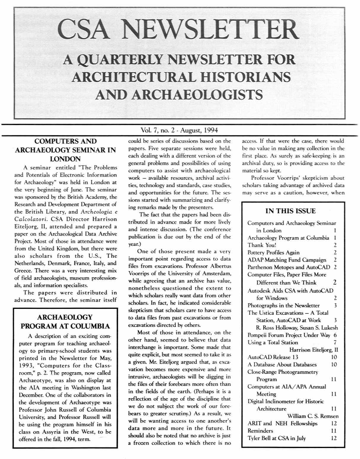 CSA Newsletter, Aug. 1994: Page 1